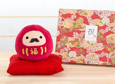 じゃぱねすく もち〜っとぬいぐるみ(ダルマ)+和風HAPPYBOX電報 花手鞠 茜