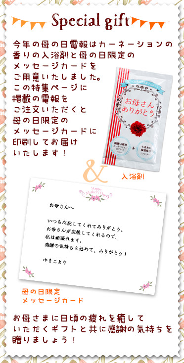 今年の母の日電報はカーネーションの香りの入浴剤と母の日限定のメッセージカードをご用意いたしました。