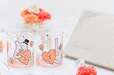 Wedding CRAFT ペアグラス+キラキラHAPPYBOX電報プレシャスホワイト