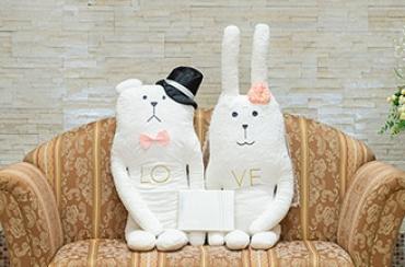 Wedding CRAFT 抱き枕クッション+キラキラHAPPYBOX電報プレシャスホワイト