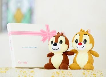 【ディズニー】レトロンズ チップ&デール ぬいぐるみ+ドキドキHAPPYBOX電報