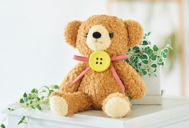 【日本製】クマのフカフカ(M)ブラウン(ペチャット付)+ドキドキHAPPYBOX電報