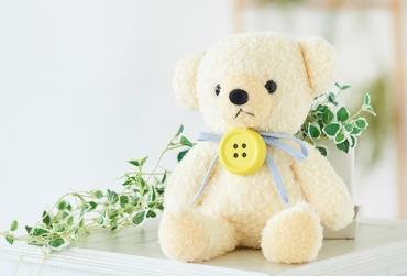 【日本製】クマのフカフカ(M)クリーム(ペチャット付)+ドキドキHAPPYBOX電報
