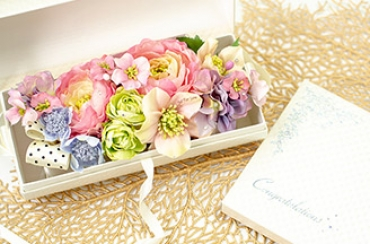 【アートフラワー】フラワーバッグ〜パリスタイル+キラキラHAPPYBOX電報