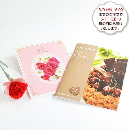カーネーション付きグルメカタログ(ブラウン)+ロイヤルフラワーピンク電報