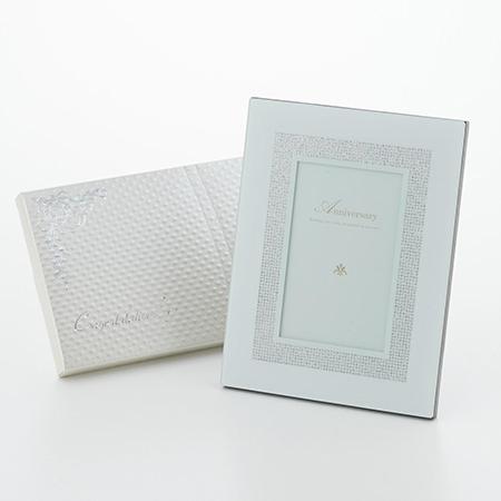 ガラストップフォトフレーム+キラキラHAPPYBOXプレシャスホワイト電報