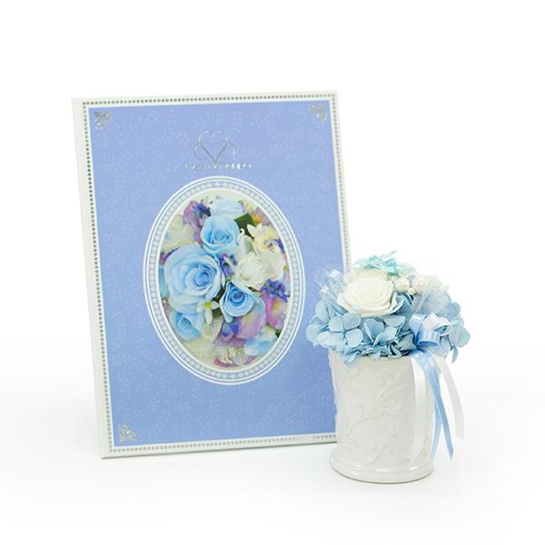 サムシングブルーをイメージしたプリザーブドフラワー「サムシングブルー」
