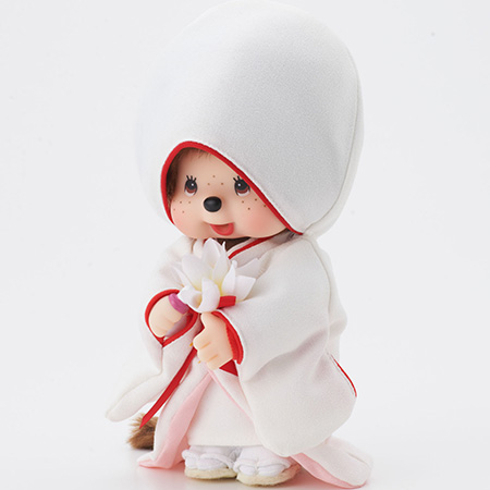 赤ふく白無垢姿のモンチッチ