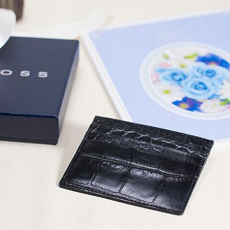 クロス〈ココバイカラー〉カードケース ブラック+ロイヤルフラワーブルー電報