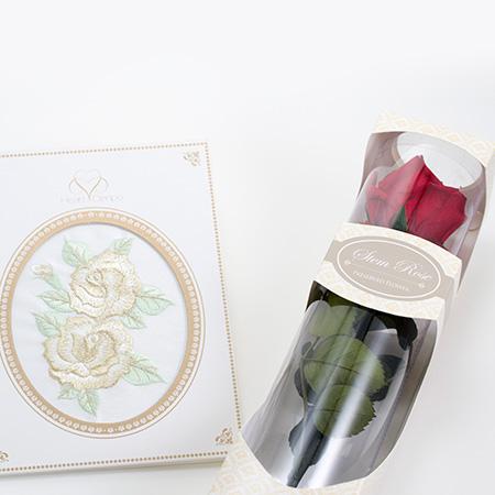 刺繍電報 ローズゴールド&プリザーブドローズ(M)