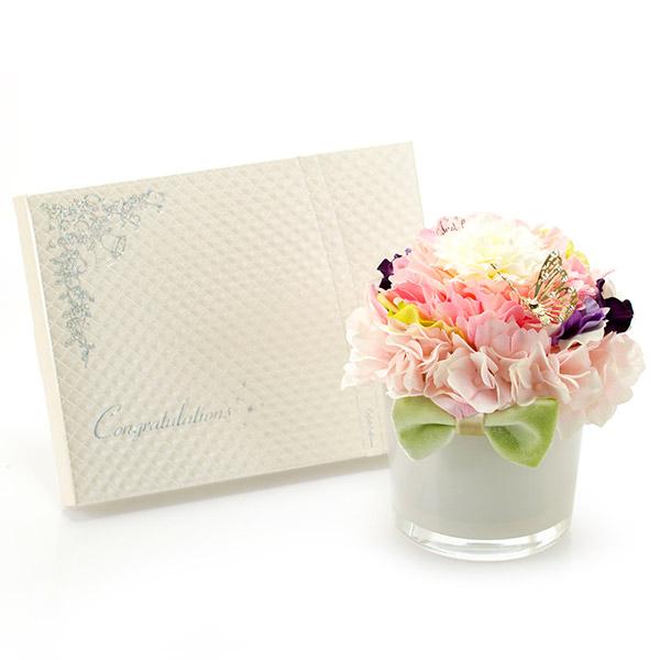 【アートフラワー】シフォンメリアフラワー+キラキラHAPPYBOX電報