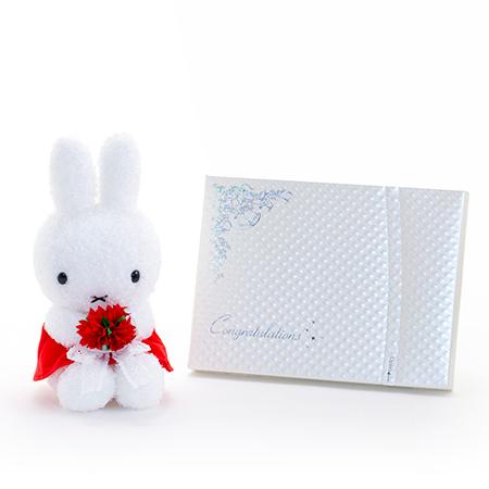 ミッフィー プレシャスブーケ あかいお花ぬいぐるみ+キラキラHAPPYBOX電報プレシャスホワイト