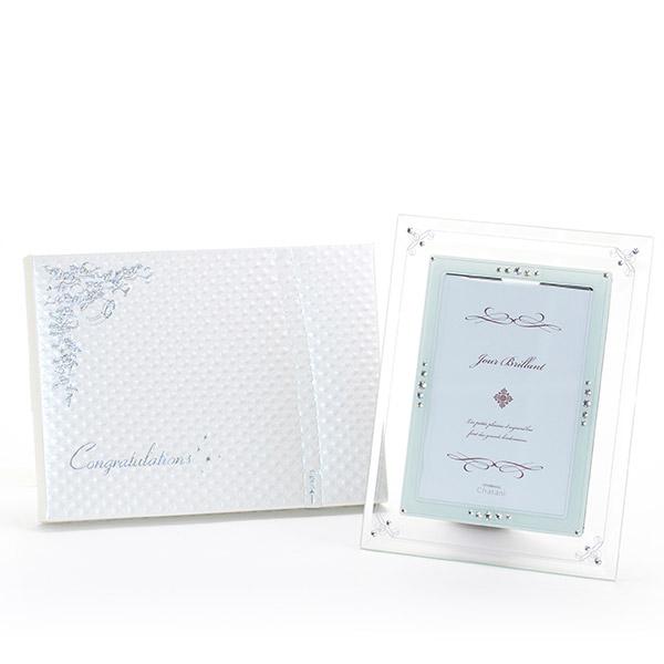 キラキラガラスフォトフレーム+キラキラHAPPYBOXプレシャスホワイト電報