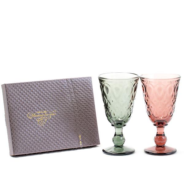 ラ・ロシェール〈リヨネー〉ペアワイングラス+キラキラHAPPYBOXショコラ電報