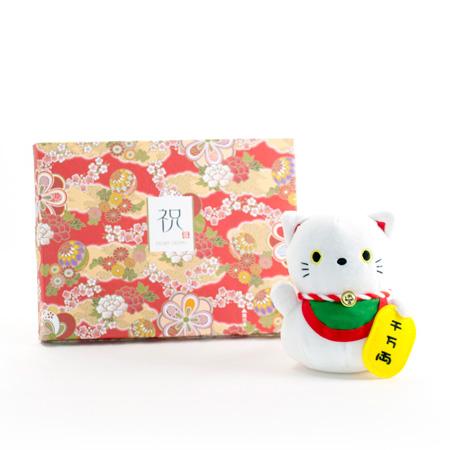じゃぱねすく もち〜っとぬいぐるみ(招き猫)+和風HAPPYBOX電報 花手鞠 茜