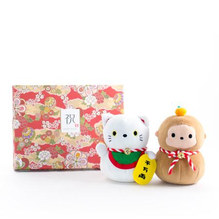 じゃぱねすく もち〜っとぬいぐるみ(サル&招き猫)+和風HAPPYBOX電報 花手鞠 茜