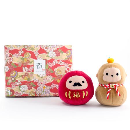 じゃぱねすく もち〜っとぬいぐるみ(ダルマ&サル)+和風HAPPYBOX電報 花手鞠 茜