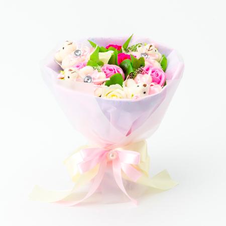 くま束電報 フレグランスローズ・ピンク+キラキラHAPPY BOXプレシャスホワイト