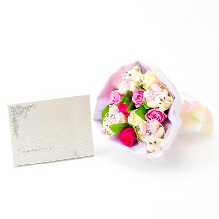 くま束電報 フレグランスローズ・ピンク+キラキラHAPPYBOXプレシャスホワイト
