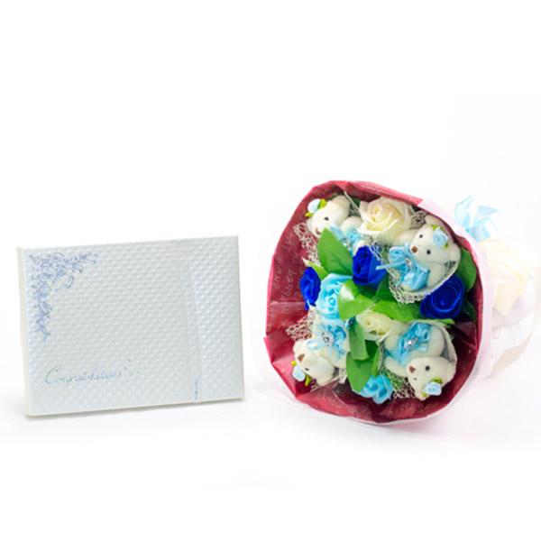 くま束電報 フレグランスローズ・ブルー+キラキラHAPPYBOXプレシャスホワイト