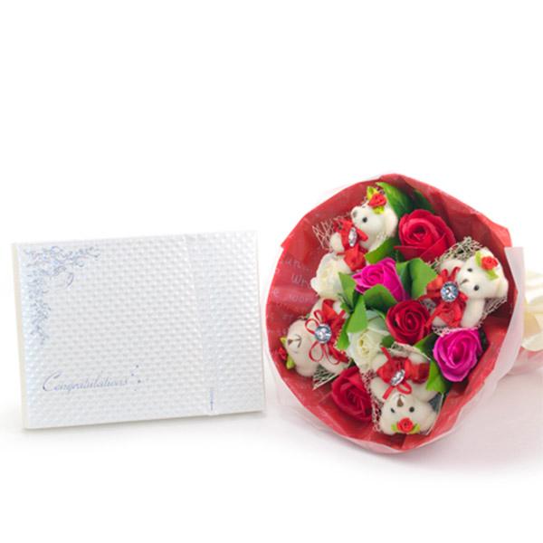 くま束電報 フレグランスローズ・レッド+キラキラHAPPYBOXプレシャスホワイト