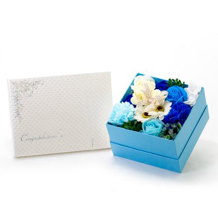 フラワーフレグランス(ブルーBOX〉+キラキラHAPPYBOX電報プレシャスホワイト
