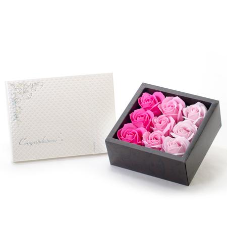 フレグランスローズ(ピンク)+キラキラHAPPYBOX電報プレシャスホワイト