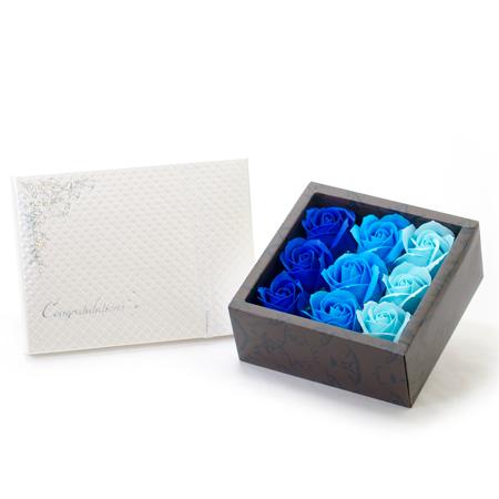 フレグランスローズ(ブルー)+キラキラHAPPYBOX電報プレシャスホワイト