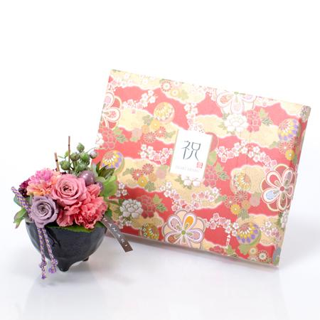 〈HANARI〉かんざし小鉢 ピンク+和風HAPPYBOX電報 花手鞠 茜