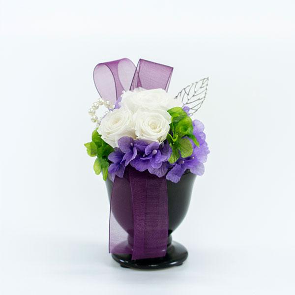 プリザーブド供花メモリアルポット詩杯型(S)ホワイト