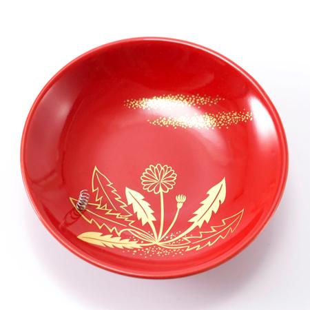 朱色の香皿には金彩のたんぽぽ