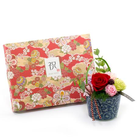 〈HANARI〉モダンそばちょこ レッド+和風HAPPYBOX電報 花手鞠 茜