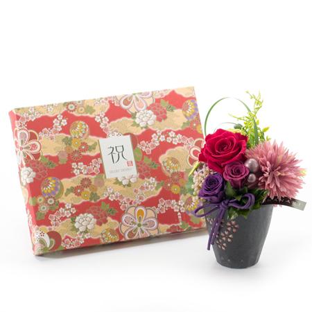 〈HANARI〉桜小町 レッド+和風HAPPYBOX電報 花手鞠 茜