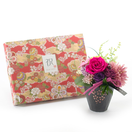 〈HANARI〉桜小町 ピンク+和風HAPPYBOX電報 花手鞠 茜