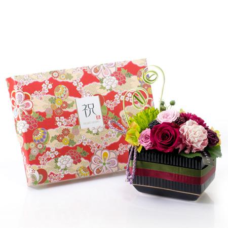 〈HANARI〉福帯 レッド+和風HAPPYBOX電報 花手鞠 茜