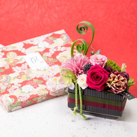 〈HANARI〉福帯 ピンク+和風HAPPYBOX電報 花手鞠 茜