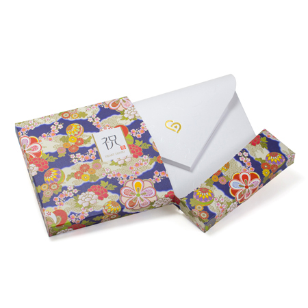 電報は和風電報 HAPPYBOX 花手鞠 藍でお届けいたします。