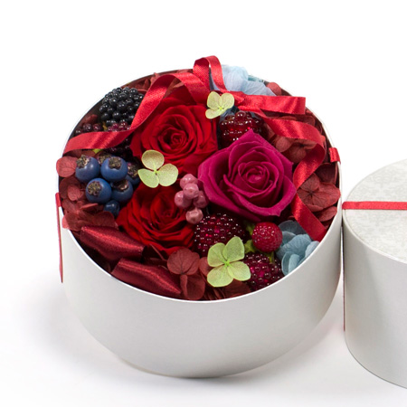 丸いボックスにお花がいっぱい