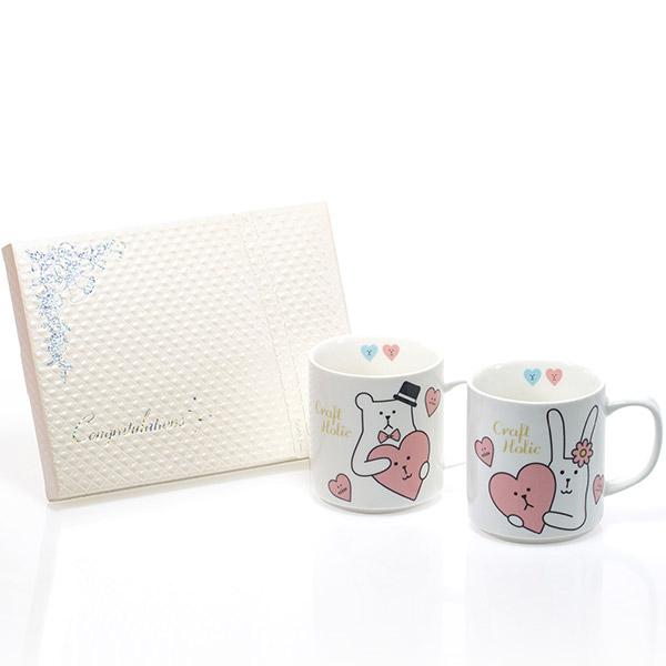 Wedding CRAFT ペアマグカップ+キラキラHAPPYBOX電報プレシャスホワイト