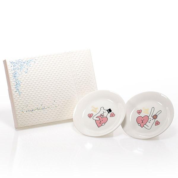 Wedding CRAFT ペア小皿+キラキラHAPPYBOX電報プレシャスホワイト