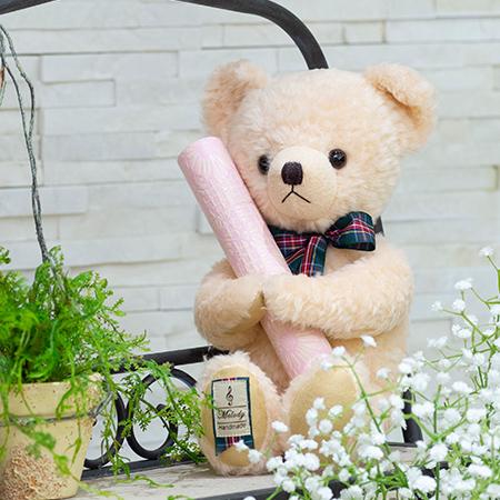 【日本製】テディベア くまのメロディ ピンク(M)+丸筒電報 パステルピンク