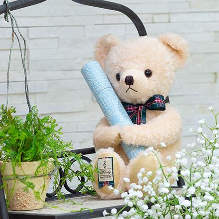 【日本製】テディベア くまのメロディ ピンク(M)+丸筒電報 パステルブルー