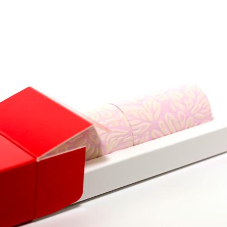 丸筒電報 パステルピンクと赤い筒箱