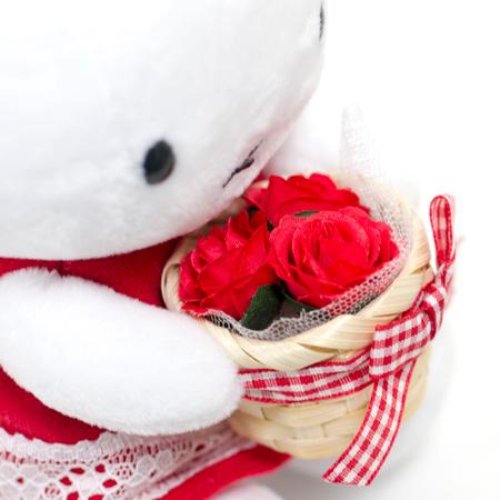 カゴいっぱいの赤いお花