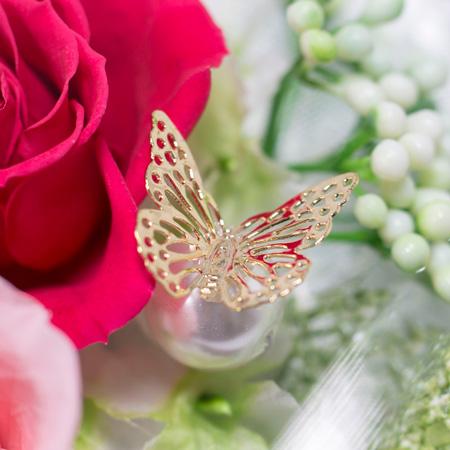 ヒラリとパールに添えられた蝶のオブジェクト