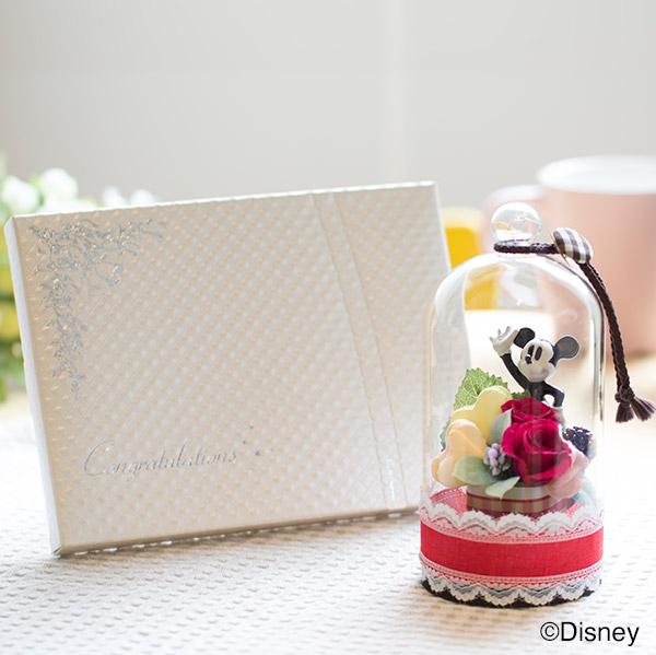 ラブリードーム(ミッキーマウス)+キラキラHAPPYBOX電報プレシャスホワイト