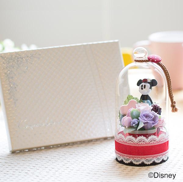 ラブリードーム(ミニーマウス)+キラキラHAPPYBOX電報プレシャスホワイト
