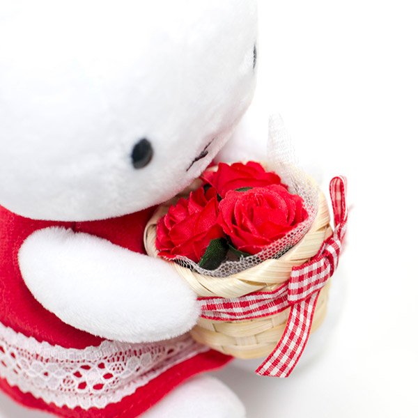 カゴいっぱいの赤いお花を抱えて。