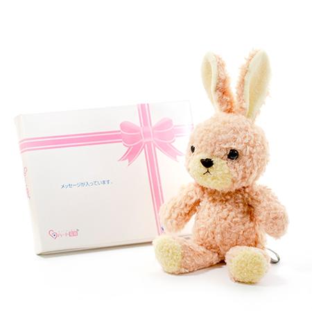【日本製】ウサギのフカフカ(S)ローズ+ドキドキHAPPYBOX電報