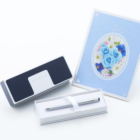 クロス〈テックスリープラス〉複合ペン サテンクローム+ロイヤルフラワーブルー電報